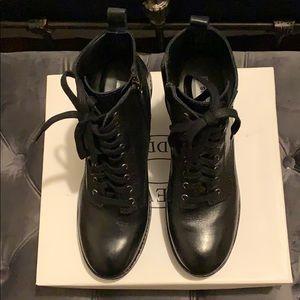 Steve Madden Mackelle Black Leather Combat Boot